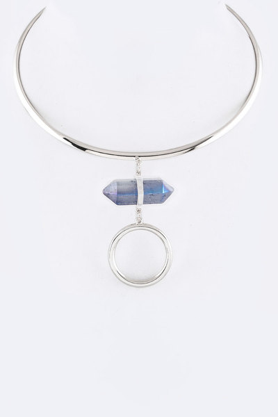 Quartz & Hoop Drop Collar Necklace