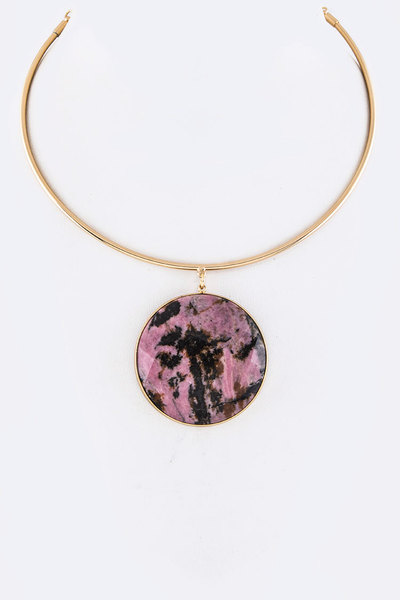 Stone Disk Pendant Collar Necklace