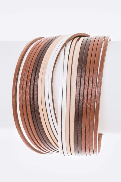 2 Tone Slash Leather Magnetic Bracelet