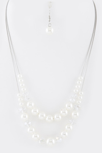 Crystal Pearl Mix Sliding Layered Necklace Set