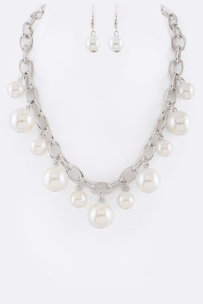 Pearl Drop Statement Necklace Set