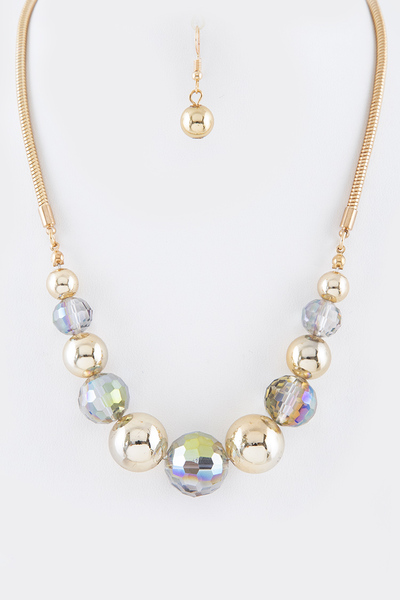 Crystal Metallic Beads Mix Necklace Set
