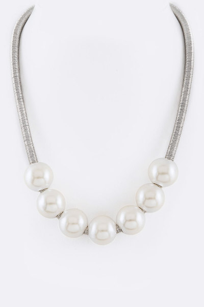 Pearl Slider Metallic Cording Necklace