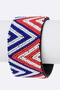 USA Color Seed Beads Adjustable Cuff