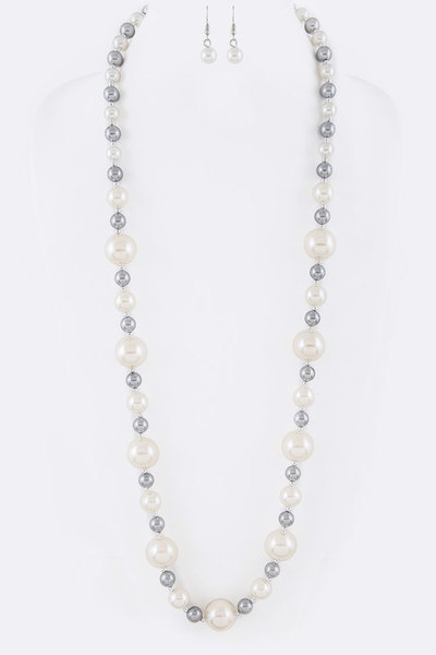 Hand Knot Pearl Station Long Necklace Set