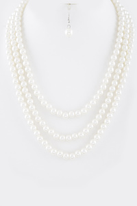 Triple Strands Pearl Necklace Set