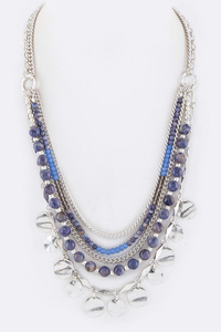 Mix Beads & Fringe Disks Layer Necklace