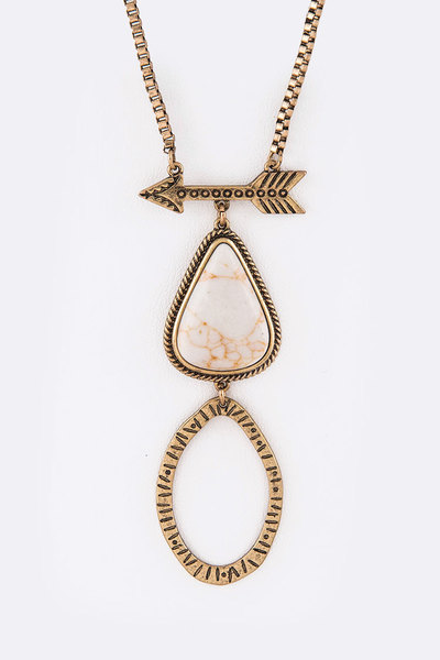 Arrow & Stone Pendant Necklace