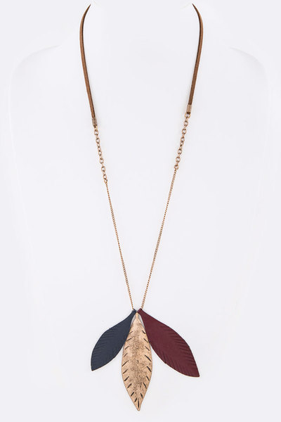 Mix Media Leather Metal Leaf Long Pendant Necklace