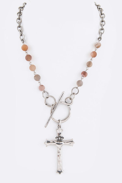 Stone Beads Cross Pendant Toggle Necklace