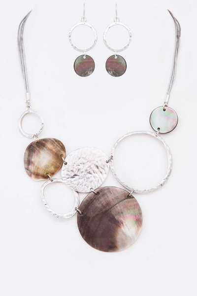 Mix Media Abalone Statement Necklace Set