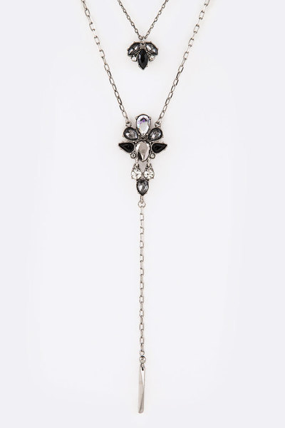 Crystal Chain Drop Layer Necklace