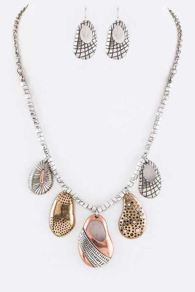 Mix Tone Textured Drops Necklace Set