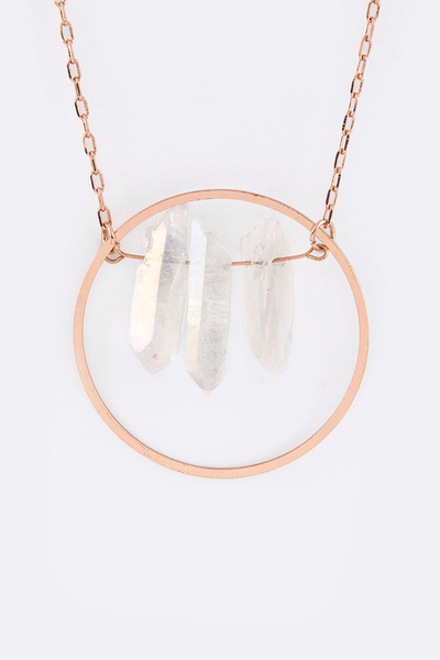 Raw Quartz Long Pendant Necklace Set