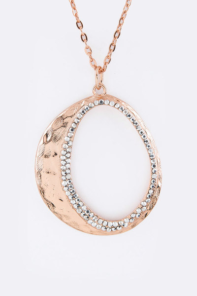 Pave Crystal Hoop Pendant Necklace Set