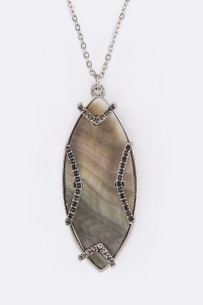 Oval Shell & Crystal Pendant Necklace Set