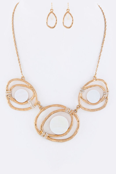 Shell Disks & Wired Hoops Statement Necklace Set