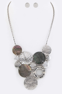 "Mix Shell Disks Statement Necklace Set Necklace - 17"" + Extension Earrings - 0.5"" Drop Lead & Nickel Compliant"