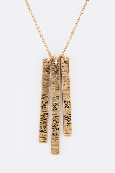 Engraved Bars Pendant Necklace Set