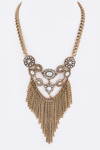 Pearl & Crystal Fringe Chain Iconic Necklace