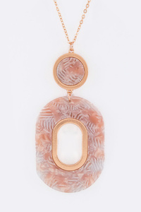 Oval Resin Hoop Pendant Necklace Set