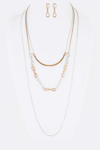 Mix Chain Draw String Adjustable Necklace Set