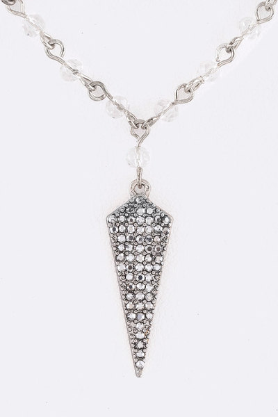 Crystal Pave Spear Pendant Necklace Set