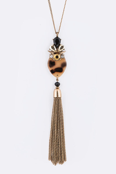 Crystal Celluloid Chain Tassel Mix Pendant Necklace
