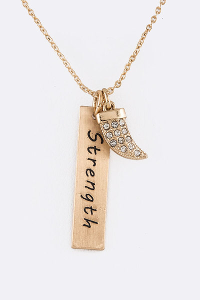 Crystal Horn Strength Tag Iconic Pendant Necklace