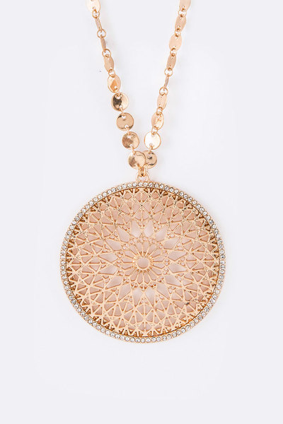Crystal Pave Cutout Medallion Pendant Necklace Set