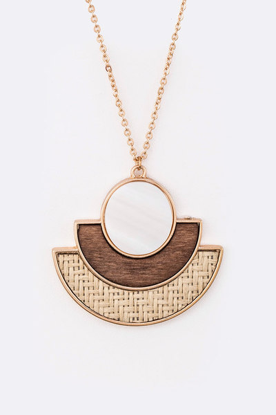 Straw Wood Mix Media Pendant Necklace Set