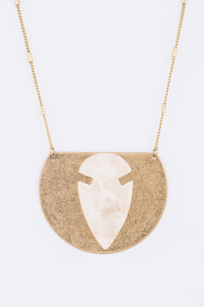 Arrow Head Iconic Quartz Metal Plate Pendant Necklace