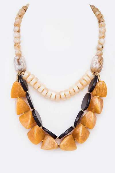 Mix Layer Natural Stone Beads Necklace