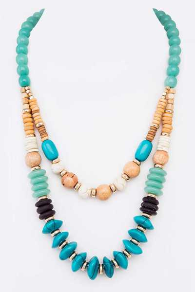 Mix Natural Stone Beads Layer Necklace