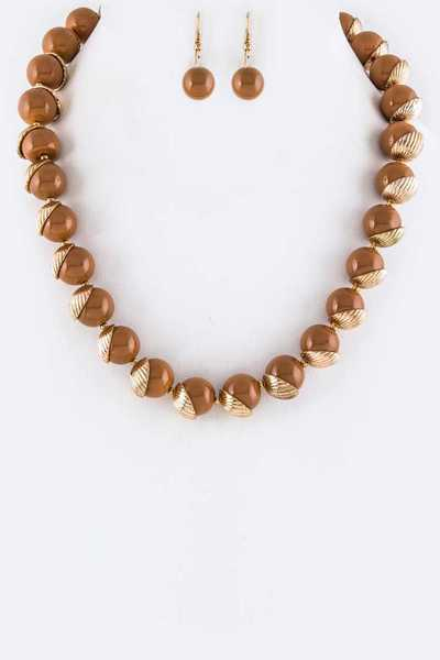 Bead Acorns Necklace Set
