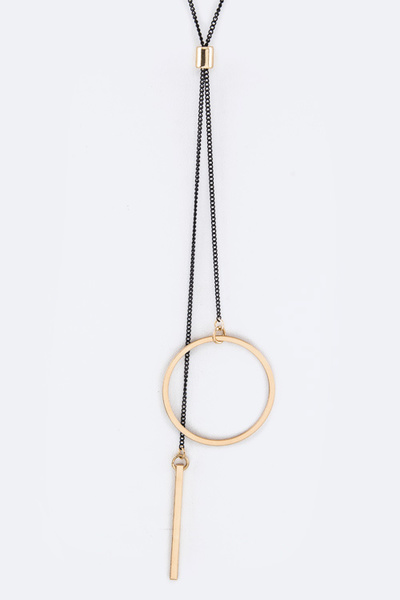 Hoop & Bar Drops Slider Necklace