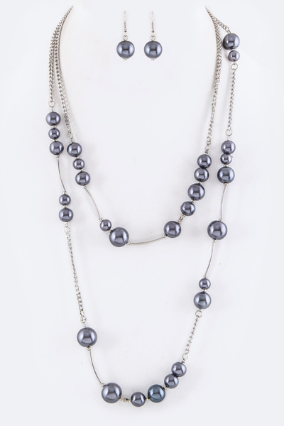 Pearls & Tubes Layer Necklace Set
