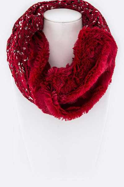 Plush Lined Twist Infinity Knit Scarf