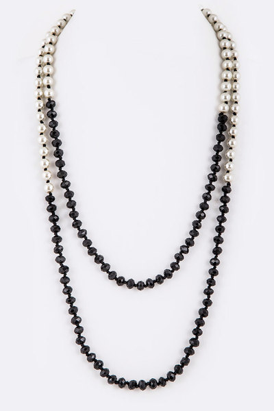 Hand Knotted Crystal Pearl Convertible Necklace
