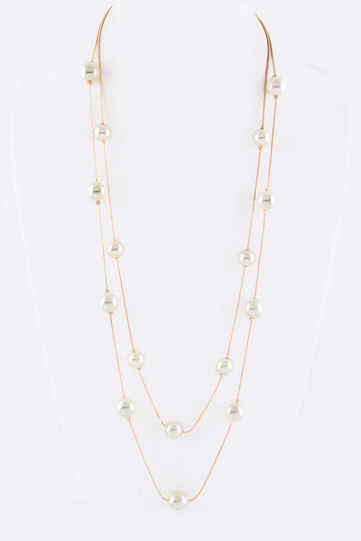 Stationed Pearls Layer Necklace