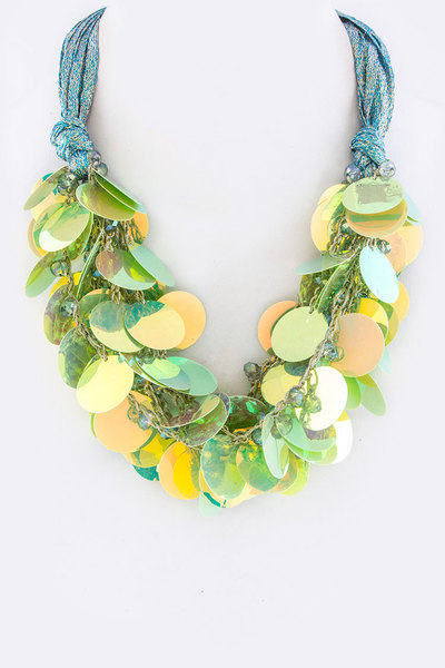 Holographic Disks Statement Necklace