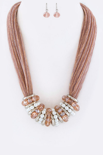 Bead Hoops Layer Necklace Set