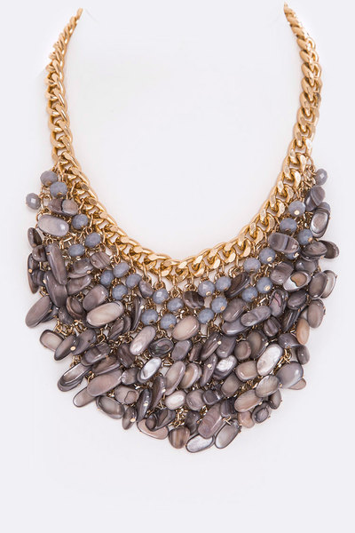 Mix Stones & Beads Bib Necklace