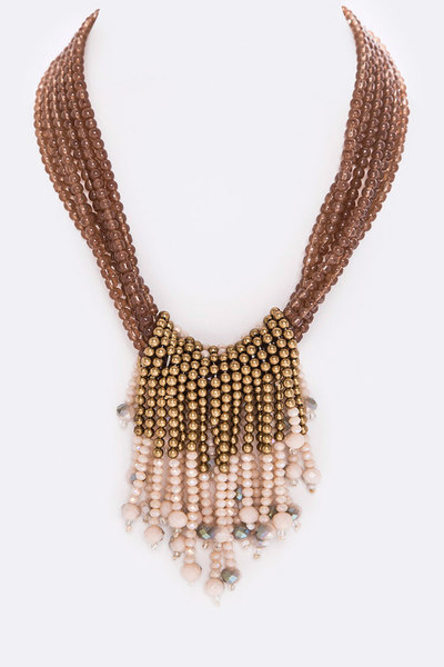Fringe Bead Hoops Layer Necklace