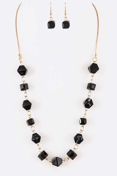 Mix Media Resin Crystal Station Long Necklace Set