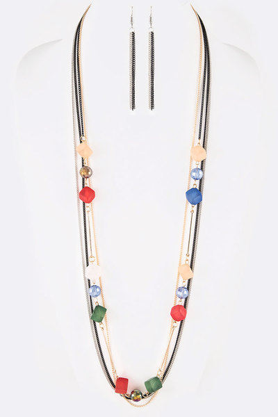 Mix Chain Frosted Glass Station Long Necklace Set