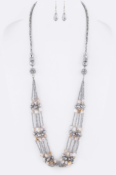 3 In 1 Magnetic Convertible Mix Pearls Crystal Necklace Set