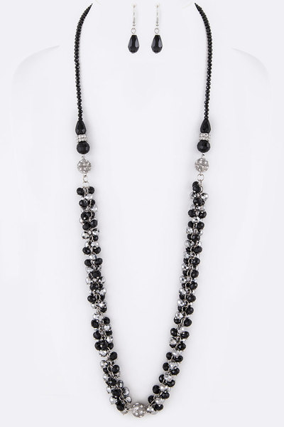 3 In 1 Convertible Magnetic Crystal Fringe Beads Necklace Set