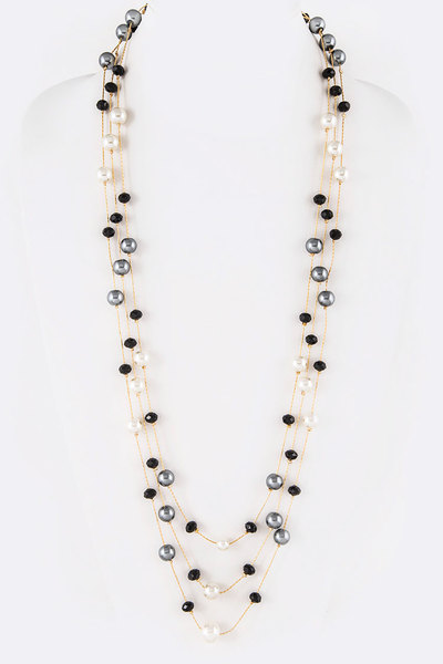 Mix Tone Layer Pearl Station Long Necklace