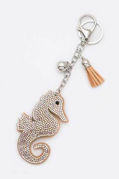 Crystal Puff Suede Sea Horse Key Chain